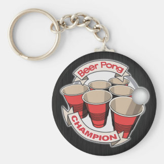 Customizable Beer Pong Champion Basic Round Button Keychain