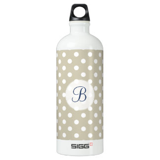 Customizable Beige Neutral Polka Dots Stylish Chic Water Bottle