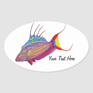Customizable Bell's Flasher Wrasse Reef Fish Stick Oval Sticker