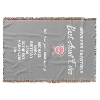 Customizable Best Aunt Ever Pink Ribbon Throw Blanket