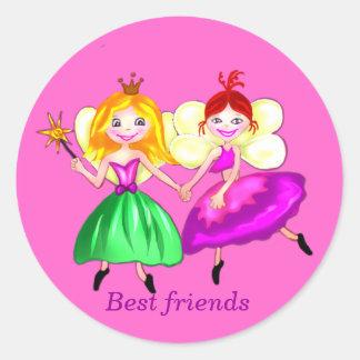 Customizable Best friends princess fairies Classic Round Sticker