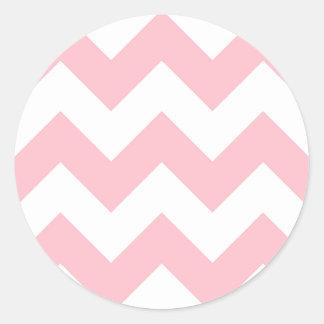 Customizable Big Pink Zigzag Pattern Classic Round Sticker