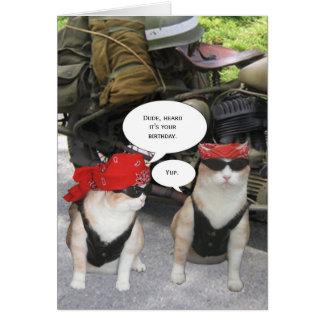 Customizable Biker Cat Greeting Card