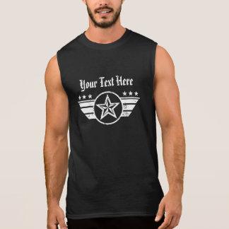 Customizable Biker Star and Wings Emblem Sleeveless Shirt