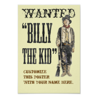Customizable Billy the Kid Poster