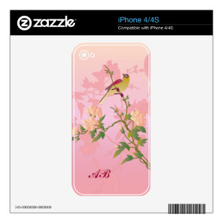 Customizable: Bird on Chinese blossom iPhone 4 Decals
