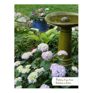 Customizable Birdbath & English Garden Postcard