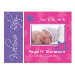 Customizable Birth Announcement Postcard