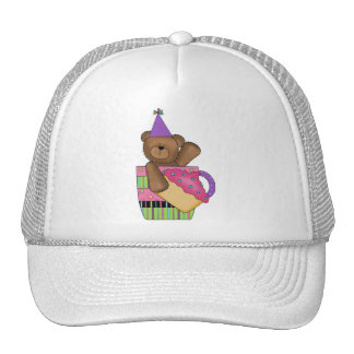 Customizable Birthday Cupcake Bear Tees, Gifts Trucker Hat