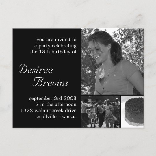 Customizable Birthday Invite Card Photo Invitation