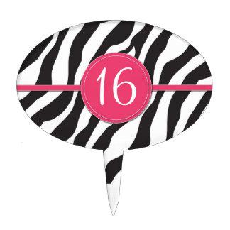 Customizable Birthday Zebra Print in Pink Cake Picks