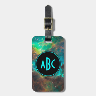 Customizable Black and Aqua Three Letter Monogram Bag Tag