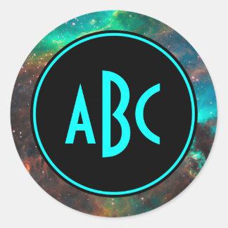 Customizable Black and Aqua Three Letter Monogram Sticker