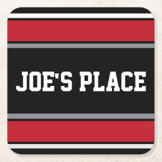 Customizable Black and Red Sports Stripes Square Paper Coaster