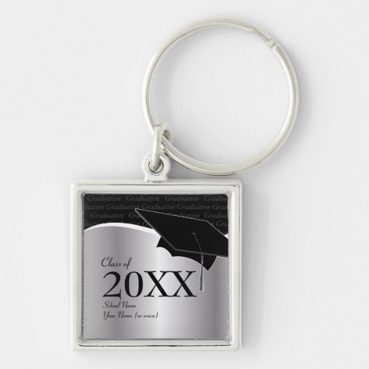 Customizable Black and Silver Graduation Keychain
