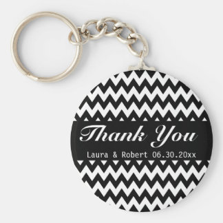 Customizable Black and White Chevron Wedding Favor Keychain