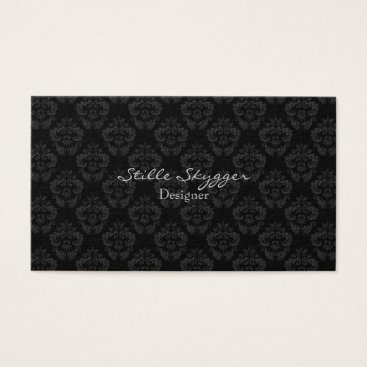 Professional Business Customizable Black and White Elegant Damask Business Card