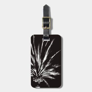 Customizable Black and White Palm Tree Luggage Tag