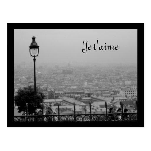 Customizable Black and White Paris Postcard