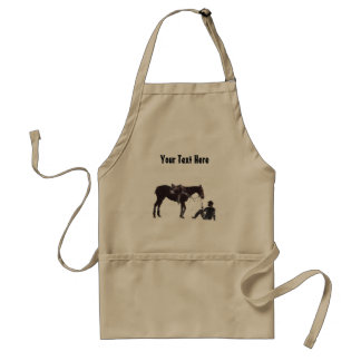 Customizable Black and White Resting Horse Apron