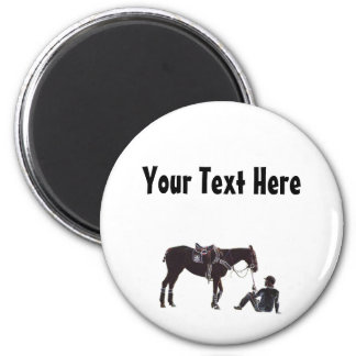 Customizable Black and White Resting Horse Magnet