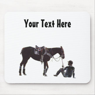 Customizable Black and White Resting Horse Mousepa Mouse Pad