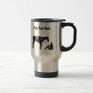 Customizable Black and White Resting Horse Travel  Coffee Mug