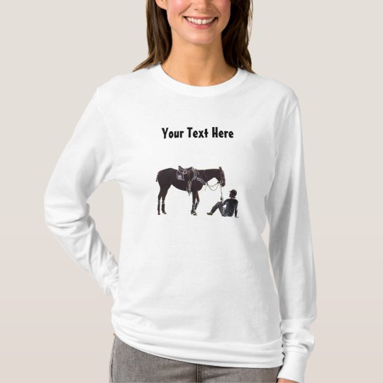 Customizable Black and White Resting Horse Woman's T-Shirt