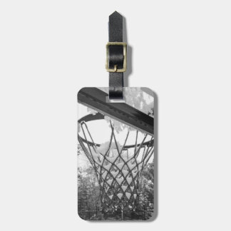 Customizable Black and White Snowy Basketball Net Luggage Tag