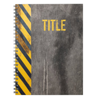 Customizable Black and yellow hazard lines Notebook