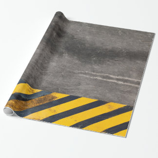 Customizable Black and yellow hazard lines Wrapping Paper