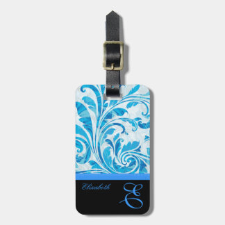 Customizable Black & Blue Floral Pattern Luggage Tag