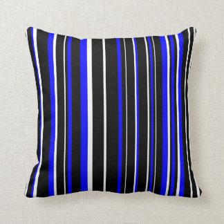 Customizable Black, Blue, White Stripe Throw Pillow