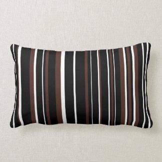 Customizable Black, Brown, & White Stripe Lumbar Pillow