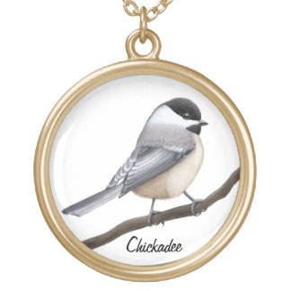 Customizable Black Capped Chickadee Bird Necklace
