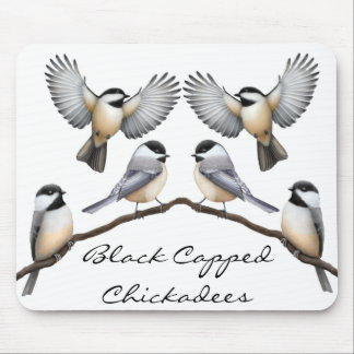 Customizable Black Capped Chickadees Mousepad