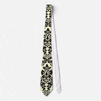 Customizable Black & Cream Damask Tie