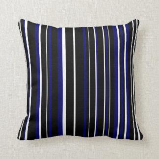 Customizable Black, Dark Navy Blue, & White Stripe Throw Pillow