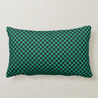 Customizable Black/Emerald Green Checkered Throw Pillow