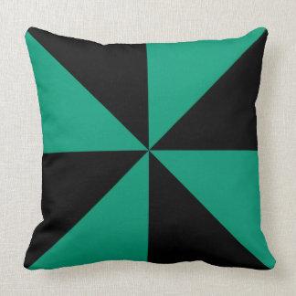 Customizable Black/Emerald Green Pinwheel Pillows
