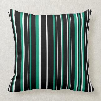 Customizable Black, Emerald Green, & White Stripe Pillow