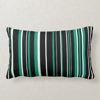 Customizable Black, Emerald Green, & White Stripe Pillows