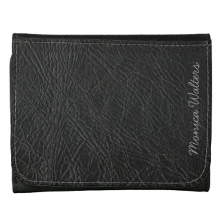 customizable black faux leather wallet
