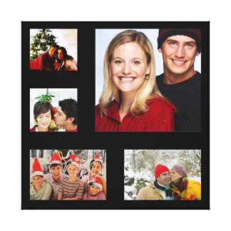 Customizable black frame photo insert wall canvas