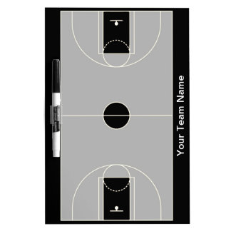 Customizable black gray basketball dry erase board