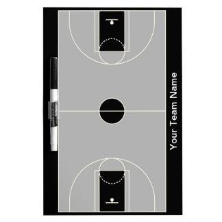 Customizable black gray basketball dry erase board