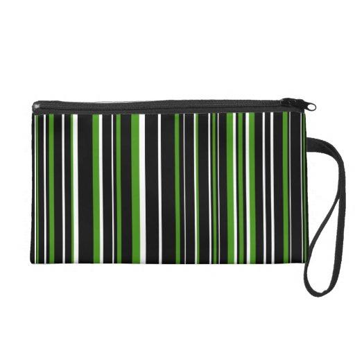 Customizable Black, Green, and White Stripe Wristlet Purse