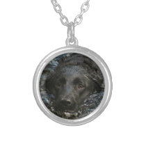 Customizable Black Labrador Retriever Silver Plated Necklace