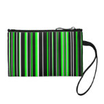 Customizable Black, Lime Green, and White Stripe Coin Wallets