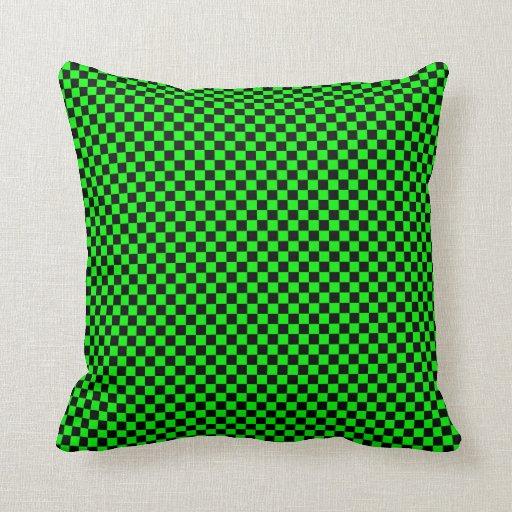Customizable Black/Lime Green Checkered Throw Pillow Zazzle